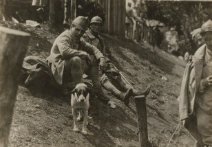 165-WW-472A-077 - Soldiers with Mascot outside Red Cross Canteen, France